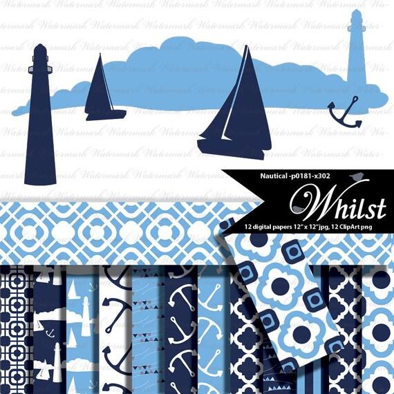 Nautical digital paper, Navy and blue digital paper, sailboat clip art clipart, lighthouse clip art clipart : p0181 3p2326