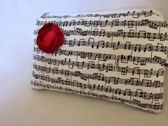 Music Notes Clutch Purse--Sheet Music with Red Satin Flower