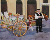European Travel to Italy Original Acrylic Painting of a Pony and Cart Posing for Photos