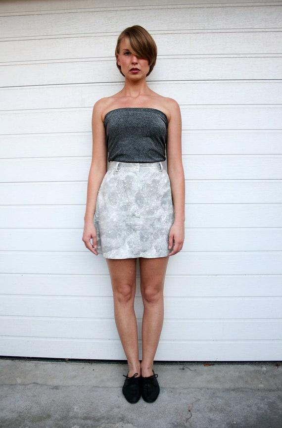 Vintage High Waist Grey Nebula Print Mini Skirt