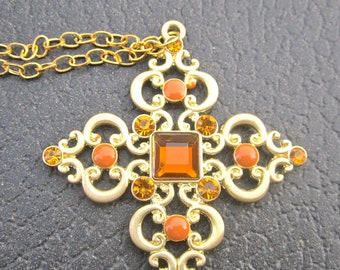 Cross Pendant Chain Necklace - Gold and Orange