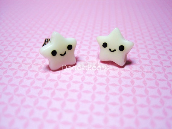 Glow in the Dark Star Earring Studs - Kawaii Polymer Clay - Cute Polymer Clay - Star Jewelry - Gifts Under 10
