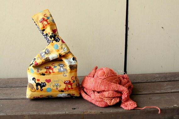 Knitting Project Bag / Crochet Project Bag / Japanese Knot Bag / Knitting Bag / Wristlet - Small - Whiskers