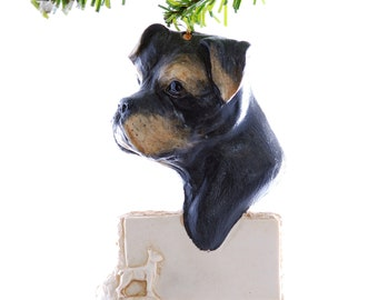Boxer Christmas ornament - black and tan boxer personalized ornament - dog ornament personalized free (d93)