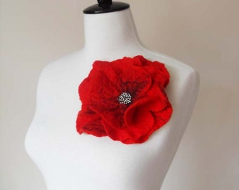 Large Felt Poppy Brooch red Felt Flower Brooch Poppies weddings bridesmaid