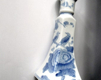 Chinese Blue & White Ceramic Candle Holder with Birds and Flowers