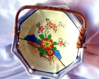 Japanese Lusterware Bowl Orange Red Purple Floral Octagonal Handled Dish