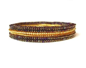 Beaded Bangle Bracelet, Brown and Gold Beaded Bracelet, Seed Bead Woven Bracelet UK