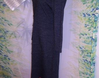 Vintage 80s designer cristian carrera charcoal grey wool bandage dress sz 8 10