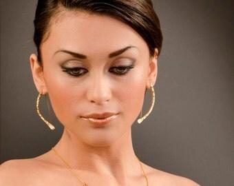 Curved bar earrings , Gold stick earrings , hammered gold earring , arc earrings