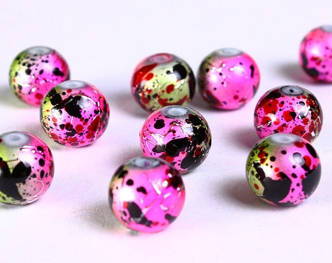 8mm Drawbench pink green yellow black beads - 8mm round glass bead - 8mm spray painted beads (832) - Flat rate shipping