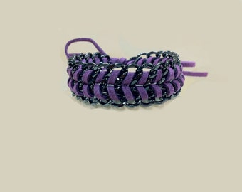 Mco Jewelry Purple Suede and Chain Bracelet (Men)