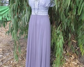 Lavender Vintage Lace Boho Evening Dress Chiffon Skirt Brides Mother Dress  Bohemian Wedding