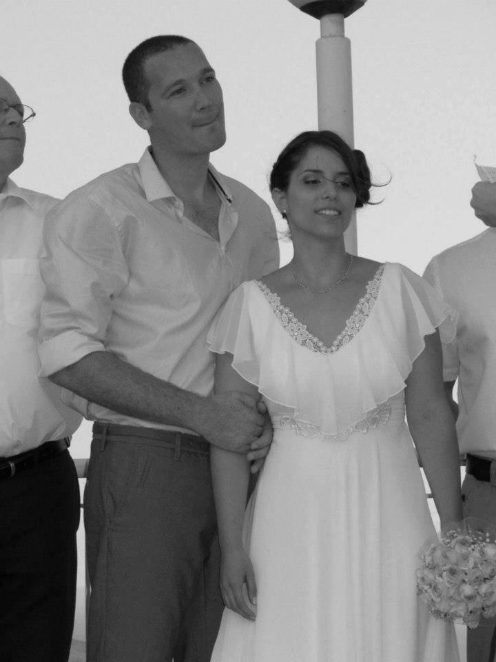 Rotem Ruffle Silk Chiffon Boho Wedding Dress Vintage Lace Chiffon Sleeves A-Line V-neck Bohemian Wedding