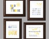 Sun and Sky Beatles Themed Set of Four Nursery Art Prints - yellow, gray, blue - neutral nursery, modern decor - morning, sleep  - 8 x 10