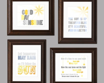 Sun and Sky Beatles Themed Set of Four Nursery Art Prints - yellow, gray, blue - neutral nursery, modern decor - morning, sleep  - 8 x 10