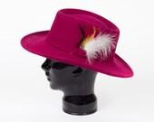 80s Vintage Wool Hat Pink Fuschia Hippie Aussie Feathers