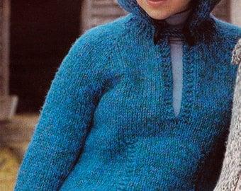 Knit Womens Hoodie with Pocket 1970's UK Vintage Knitting PDF PATTERN