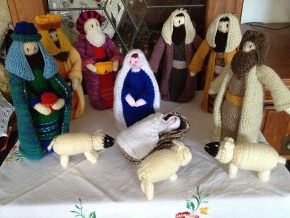 Knitting Patterns Nativity Free : Nativity Set Nativity Scene Knitted Christmas Nativity