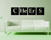 Periodic table of elements, FOUR custom elements wall decals pick any 4 elements