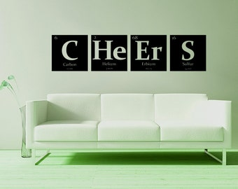 Periodic table of elements, SEVEN custom elements wall decals pick any 7 elements