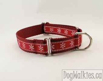 "Snowflakes on Red - 1"" (25mm) Wide - Christmas Dog Collar - Choice of collar style and size - Martingale Dog Collars or Quick Release Buckle"