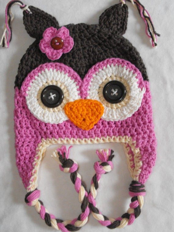 Crochet Owl Hat With Eyebrows Baby Hat Owl h Crochet