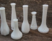Vintage Milk Glass Bud Vases Wedding Home Decor - Set of 6