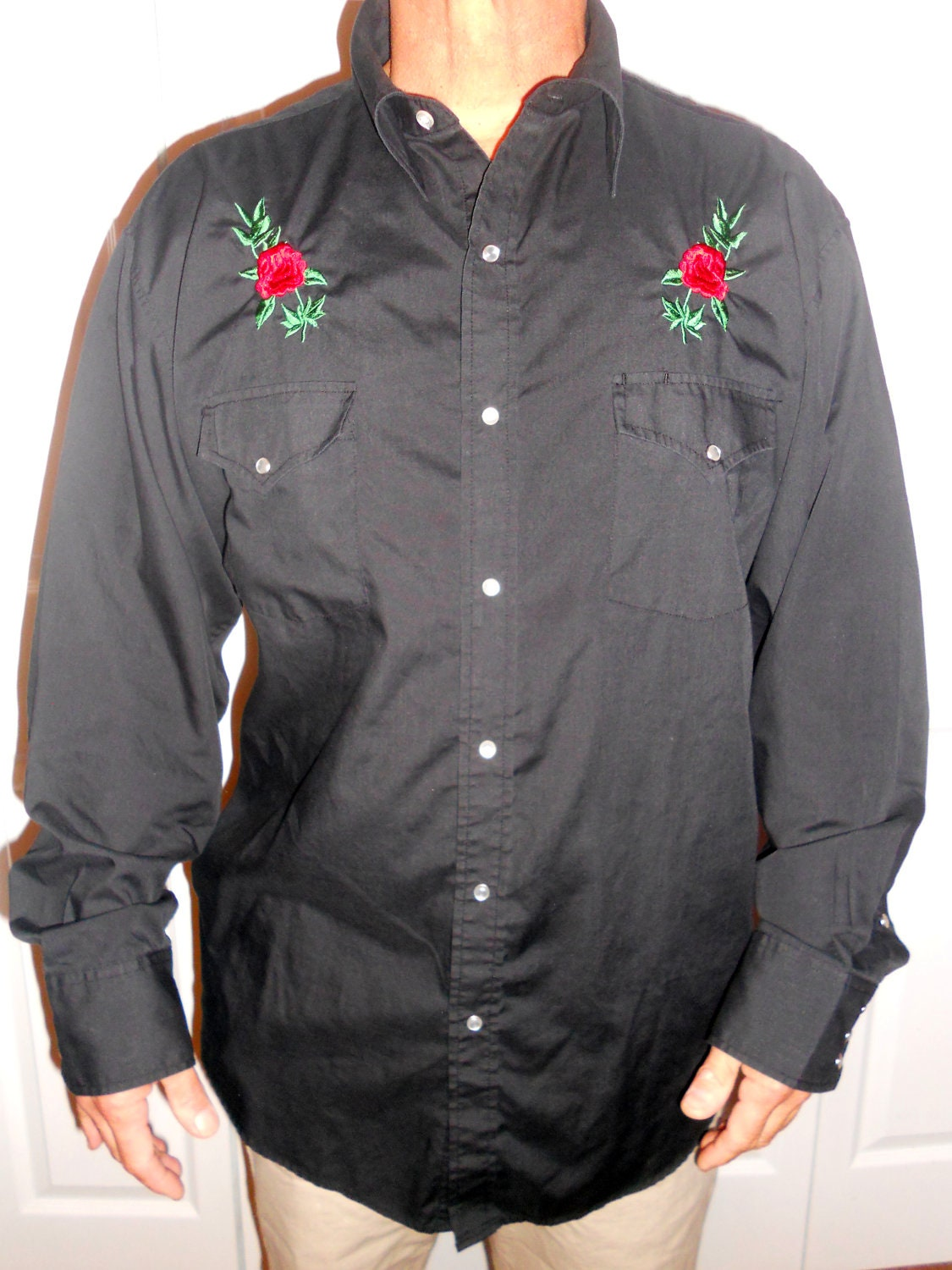 Men s western shirt embroidered pearl snap black xl rose