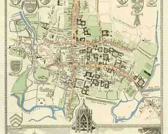 Oxford 1837. Antique map of Oxford City and University, England by Thomas Moule - MAP PRINT