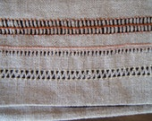 Linen shoulder bag with pulled thread embroidery