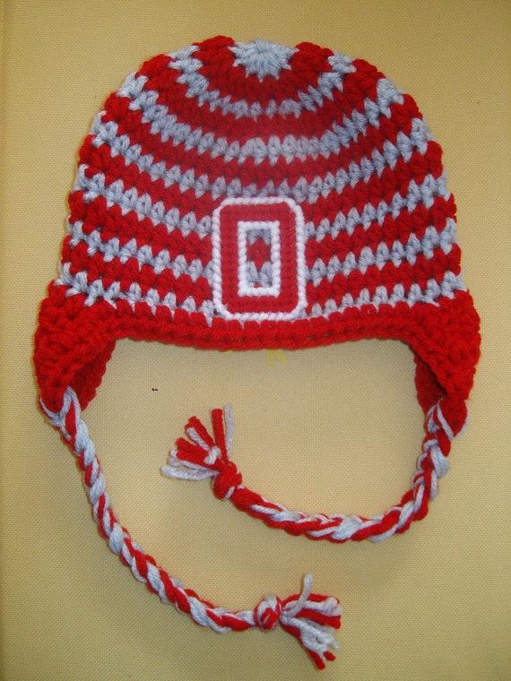 Crocheted Ohio State Buckeye Beanie Hat All Sizes Baby Adult