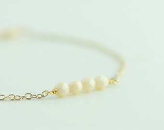 Beaded Bracelet in Champagne. Layering Bracelet. Stackable Bracelet. Friendship Bracelet. Simple Minimal Everyday  Jewelry
