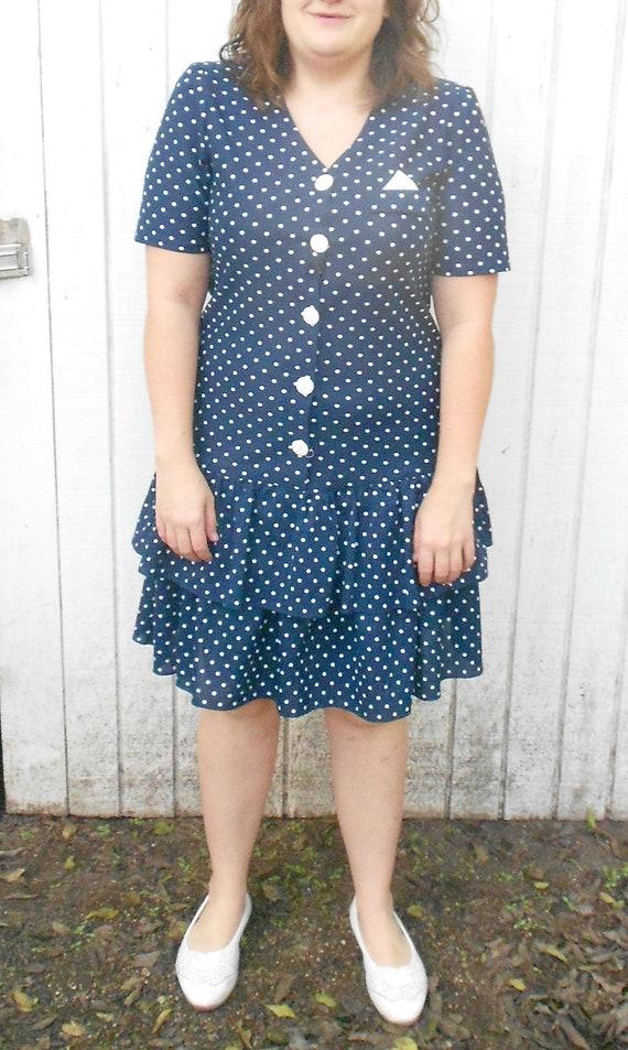 Sale Vintage Polka Dot Dress 80's XL Nautical Navy Polka Dot Plus Size Dress Size 12 Sailor