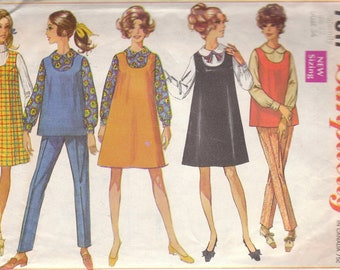1960s Maternity Jumper or Tunic & Pants Pattern Simplicity 7817 Size 12