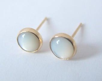 White Shell Earrings, Gold filled Studs with 6mm White Shell/ Gemstone Post Earrings