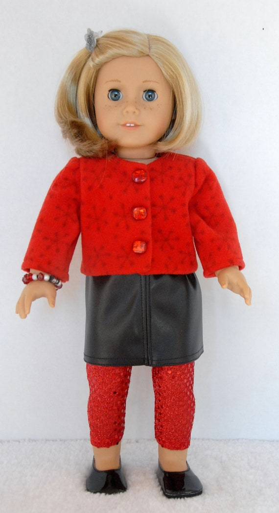 Items similar to american girl 18 inch doll clothes red for Garden tools for 18 inch doll