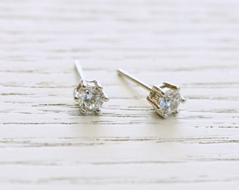 Delicate simple everyday sterling silver white topaz studs earrings
