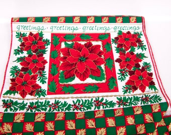 Vintage Poinsettia Table Runner Cotton Red Green Red Tassels 70 x 26 Christmas Linen Holiday decor