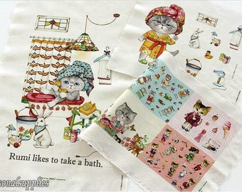 Cotton Linen Fabric,Craft,Cartoon Pattern,Cats,Take a bath,Colorful,diy,Sewing (C250)