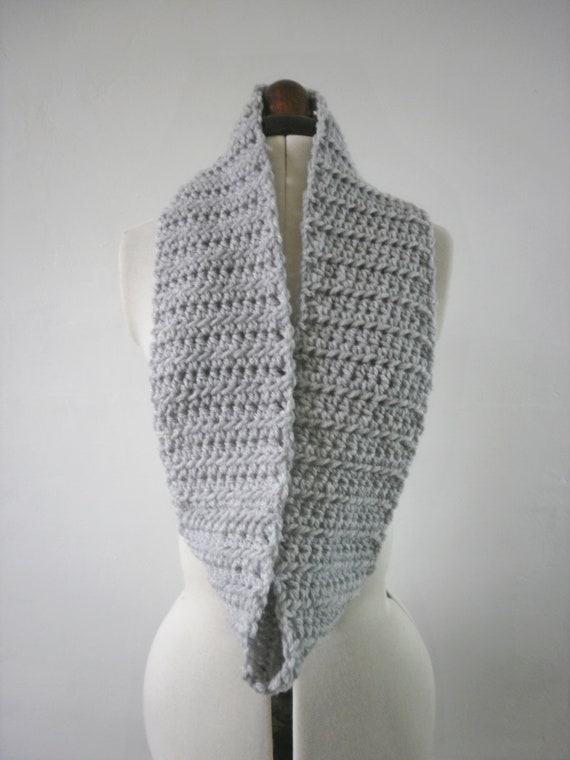 Pale grey cowl scarf , crochet light grey infinity scarf