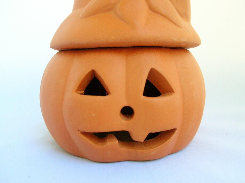 Terra Cotta Jack O Lantern Halloween Tealight Candle Holder