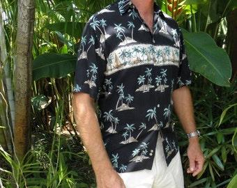 Vintage Men's Neiman Marcus Black Short Sleeve Tropical Hawaiian Shirt, size S, Boats, Volcanos,