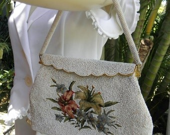 Vintage 1950s White Beaded & Embroidered Handbag, Gold Scalloped Frame, Beaded Handle