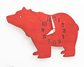 "The ""Big Bear in Red"" Kid's wall mounted clock from LeLuni"