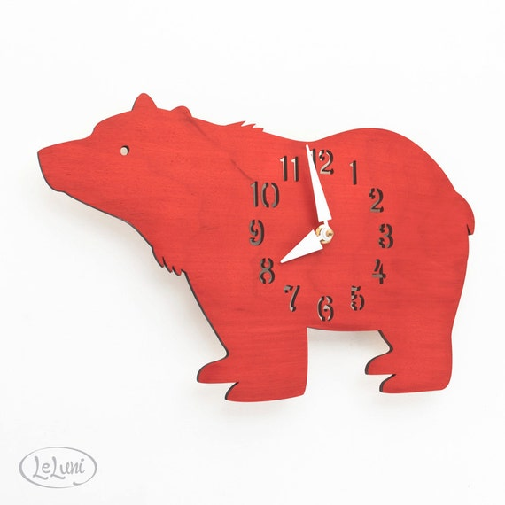 "The ""Big Bear in Red"" designer wall mounted clock from LeLuni"
