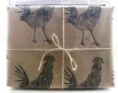 Lino Printed Rustic Chicken Wrapping Paper - Three Sheet - 50 x 70cms