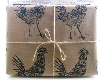 Lino Printed Rustic Chicken Wrapping Paper - One Sheet - 50 x 70cms