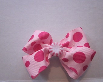 Hairbow Boutique Christmas Hairbows Pink Polka Dot Hairbows Peppermint Hairbows  By Sweetpeas Bows & More