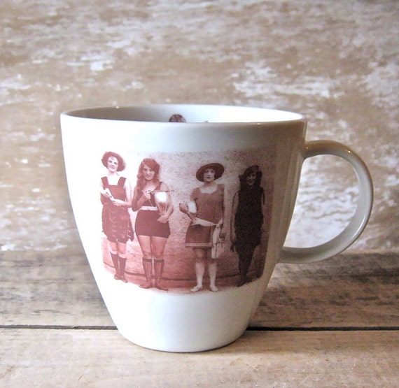 Mug with Camera and Bathing Beauties, 1930's Girls on Large Coffee Mug, Antique Photo and Camera Cup, Ready to Ship